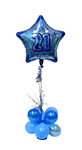 Balloon Arrangement 21St Birthday Boy Short Topiary With Foil 140