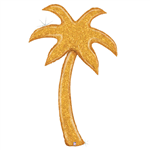 Balloon Foil 60 Palm Tree Holographic Gold Glitter